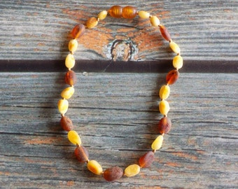 "10""  Baltic Amber Healing Necklace Knotted on Silk, Teething Necklace, Natural Pain Relief"