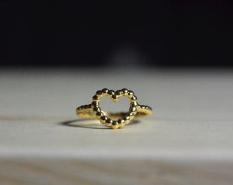 Tiny gold heart ring Minimalist heart ring Bridal gift Gold Plated dotted ring Romantic gift Rings for women  21st birthday Bridesmaid gift
