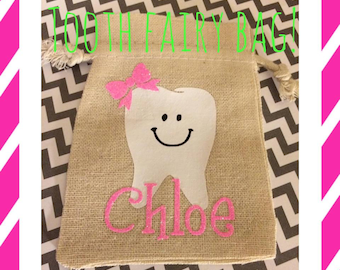 Personalized Tooth Fairy Bags - Tooth Holder - Tooth Pouch - Party Favors - Children - Tooth Fairy - Burlap Bags