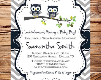 Owls Baby Shower Invitation, Baby Shower Invite, Boy, Navy, Gray, owls baby shower invitation, Chevron Stripes, 1607