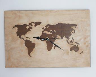 Inlay wood pattern globe clock
