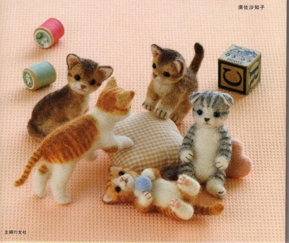 Needle Felt Cute Cats Pdf Patterns Kawaii Ebook Japanese