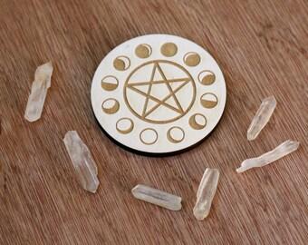 Laser Etched Altar Tile (Moon Phase or Pentacle)