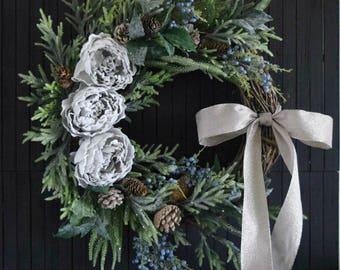 """Rustic Woodland Winter Greenery Wreath for Front Door - 24"""" Diameter"""
