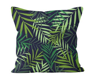 Palm Leaves Pillow Cover in Navy and Green, Tropical Leaves Throw Cushion Cover, Modern Palm Leaves Print Decor, Botanical Pillow Cover _M