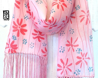 Unique handmade scarves, Hand Painted Silk Scarf, Pink Silk Scarf, Silk fringe Scarf, Pink Wildflowers Scarf, Takuyo, 8x54 inch