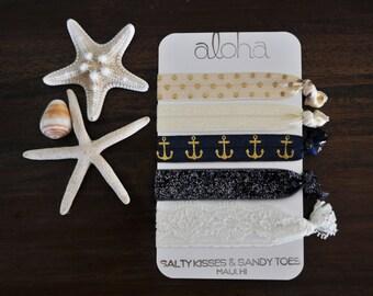 Hair ties - Pineapple print - Beach hair Ties - nautical hair ties - Elastic Hair Ties - Glitter Hair Ties - No Crease Hair Ties - Lace hair