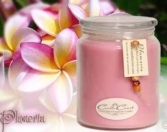Plumeria Scented Soy Candles, Light Floral Fragrant Candle, Pink Soy Candle, Natural Soy Wax Candle