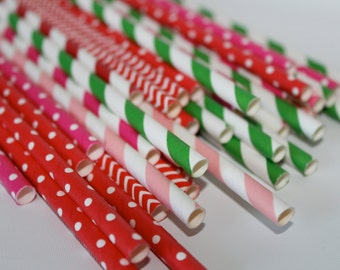 24 StraWberry Shortcake vintage birthday party paper straws red pink green striped polka dots chevrondecor decorations