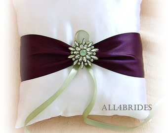 Eggplant and Sage Green Wedding Ring Bearer Pillow.  Satin wedding ring cushion.