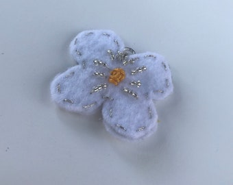 White flower felt pendant