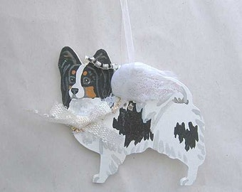 Hand-Painted PAPILLON TRI-COLOR Feathered Wing Angel Wood Ornament...Artist Original