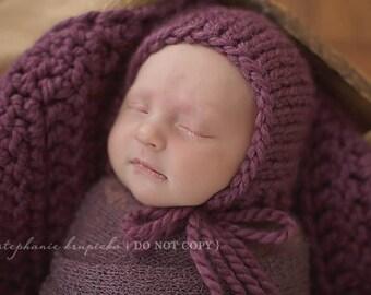 Newborn Girl Hat, Newborn Photo Prop Girl, Newborn Hat Girl, Newborn Bonnet, Chunky Knit Newborn Hat Chunky Knit Newborn Prop Photo Prop Hat