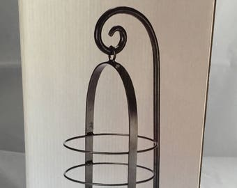 Vintage ELEMENTS hanging candle lantern. Hanging candle lantern. Elegant lighting. Iron finish lantern with clear glass candle base.