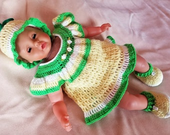 Handmade Baby Crochet Dress, Hat and Booties set (0-3 month). Lemon set!
