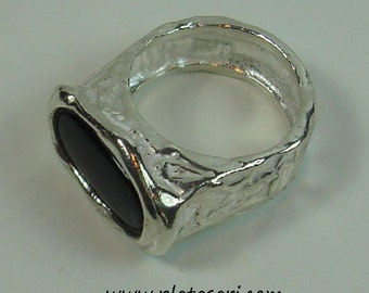 Silver ring onyx texture.