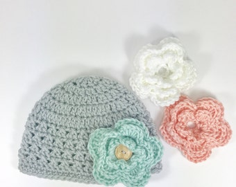 baby hat, crochet baby hat, baby girl hat, 6-9 month baby hat, gray hat, hat with flower