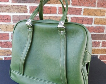 Large American Tourister Avocado Green Vinyl Tote Bag, Luggage, Suitcase, Carry On Bag, Overnight Bag, Weekender, Book Bag, Diaper Bag
