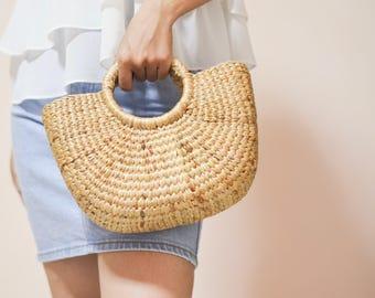 Straw bag Weaving seagrass top handle bag, handmade bag , boho bag, straw purse beach bag from Thailand #01