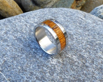 Stainless steel and bocote  wood ring