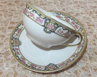 "Vintage Noritake ""Portland"" Teacup and Saucer"