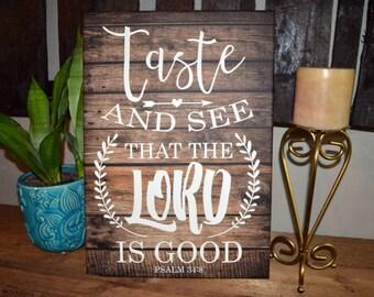 """14 x 20 Inch """"PSALM 34:8"""" Kitchen canvas art"""
