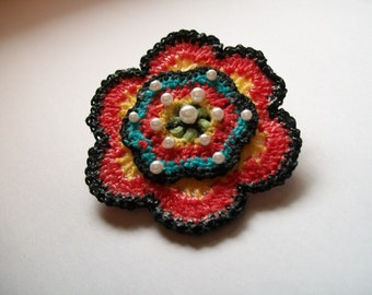 Crochet brooch, Flower Brooch, Crochet Flower Pin Brooch, Wedding Corsage, boutonniere