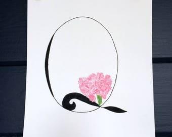 8x10 Q monogram print with pink carnation housewarming gift newlywed gift original font print pastel art floral art nature art home decor