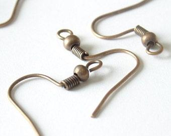 Antique brass  Ear wires Hooks  100 Pieces - EC135B