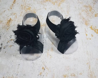 Barefoot Sandals - Black Baby Shoes - Newborn Sandals - Black Infant Sandals - Baby Girl Shoes - Baby Shower Gift - Girl Summer Shoes
