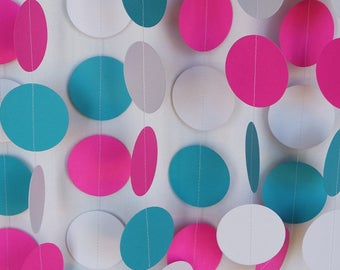 Hot Pink, Teal & White Paper Garland, Girl's Birthday Party Decor, Bridal Shower Decorations, 1st Birthday, 10 ft. long Circle Garland