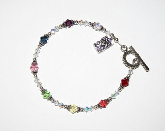 Petite Chakra Bracelet with Swarovski Crystals and Sterling Silver Findings