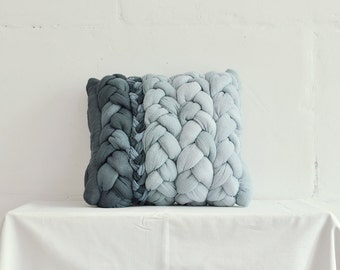 "Dark and light grey ""plait"" pillowcase - dyed, decorative, handmade cushions."
