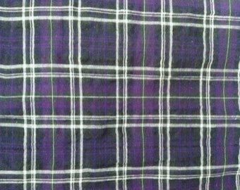 Fabric light purple and black-style Plaid tartan - 100% cotton - sold by 50 cm (half meter)