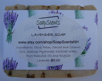 LAVENDER Handmade Cold Process Soap - Made in NH