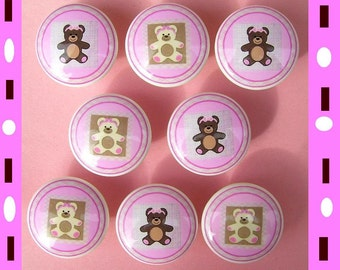 8 Teddy Bear Pink  girls kids Dresser Drawer Knobs
