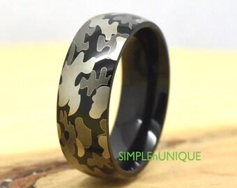 Camo Ring Ceramic Camouflage Wedding Ring Mens Womens