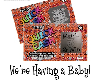 pregnancy announcement, surprise pregnancy announcement, scratch off tickets, pregnancy announcement cards, scratch off cards,