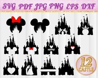 Disney Castle SVG,Heart,Head Mickey Mouse,Cinderella,Magic Kingdom,Disneyland,Silhouette,svg,jpg,pdf, png,dxf,eps,Cut Files,castle,cricut,4