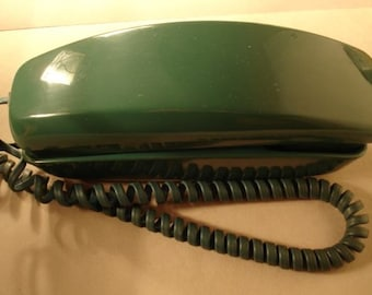 Vintage Green Rotary Dial Wall Telephone Trimline Western Elcetric Telephone 1980s