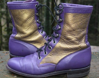 Size 7 Women ~ Purple & Gold  Justin  Women's Lacer Western Boots ~ ALL WOOF'ed  UP