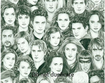 Ultimate Breaking Dawn Part 2  Montage 11 x 17 colored pencil drawing print