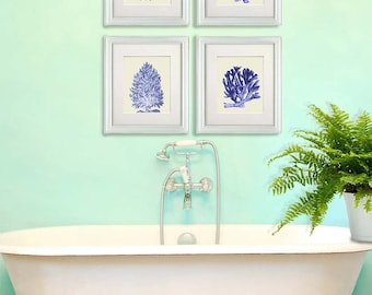 Sea Coral Print Blue Coral Prints Set of 4 Nautical print coral art bathroom decor Bathroom wall art Bathroom wall decor coastal home decor