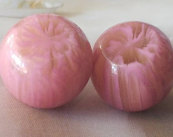 Vintage Buttons - Lot of 2 matching pink marled small celluloid, novelty, 40's Retro, (apr 4 18)