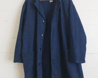 Vintage Navy Blue German Workwear Jacket - SIZE: XL / 54