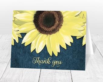 Sunflower Thank You Cards - Denim Rustic Sunflower - Yellow Blue Denim Thank You Cards, Rustic Thank You Cards - Printed Sunflower Cards