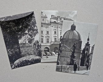 set 7 vintage paper bags gift bags envelopes Prague architecture black white