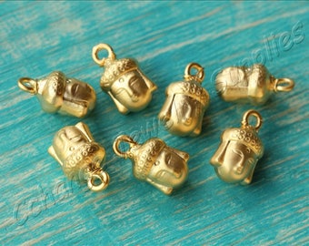 5 pcs Gold Buddha Beads, (14mm x 8mm) Gold Buddha Head Charms, 24k Matte Gold Plated Buddha, Metal Gold Buddha Beads, Buddha Charm / GPY-413