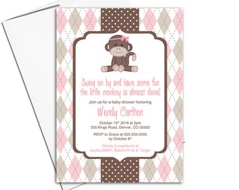 Brown and Pink Sock Monkey Baby Shower Invitation for Girls | Classic Baby Invite | Retro Monkey Shower | Cute Party - WLP00759