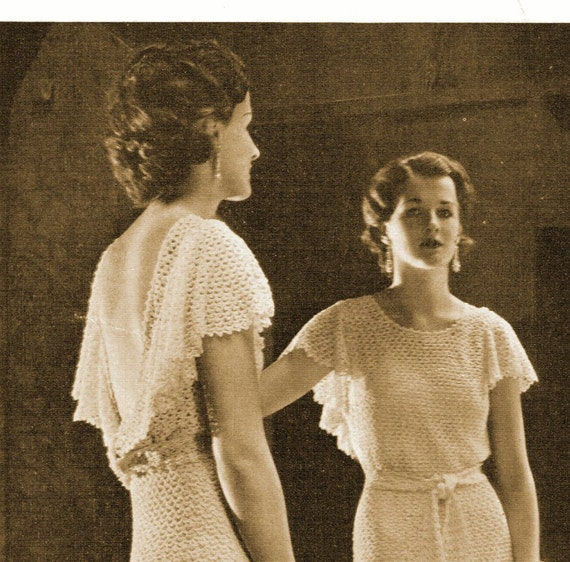 1930s Backless Evening Gown or Wedding Dress with Short Flutter ...